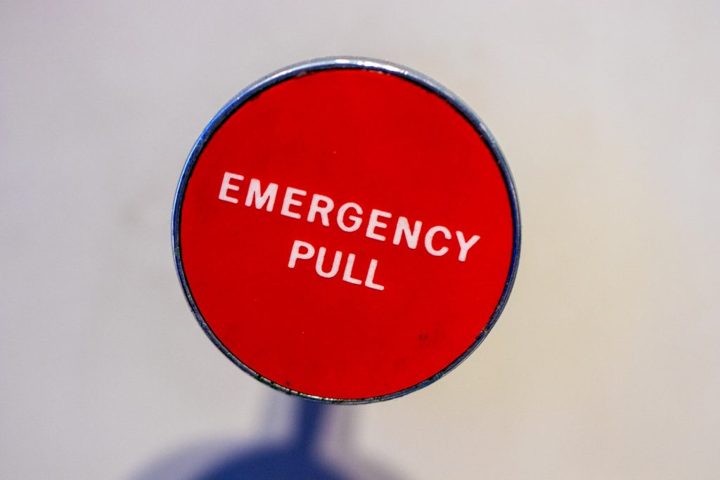 red Emergency Pull lever
